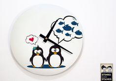 Wanduhr Pinguin WU004 von STINKSANDSTANKS – Dein besonderes Geschenk! auf DaWanda.com