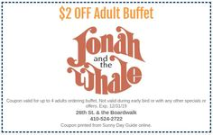 Jonah and the Whale Ocean City MD, Sunny Day Guide Coupon, learn more about Jonah & the Whale. Best Hotel Deals, Best Hotels, Seafood Buffet, Jonah And The Whale, Ocean City Md, All You Can, Sunny Days, Trip Advisor, Coupons