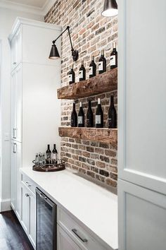 Built in wine bar ideas. Chicago brick backsplash. Built in wine bar kitchen. #Modernkitchenbar #Modernkitchenshelves