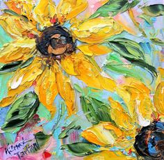 Original Sunflowers palette knife painting oil by Karensfineart