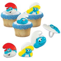 Are you having a Smurf party? These rings feature your favorite Surfs. These are great for cupcakes or party favors. 24 Rings