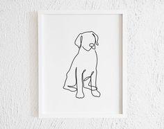 Labrador Retriever One line Drawing Print. Printable Black and Dog Line Drawing, Single Line Drawing, City Drawing, Dog Line Art, Minimal Drawings, Art Drawings, Abstract Drawings, Line Art Flowers, Doodle Wall