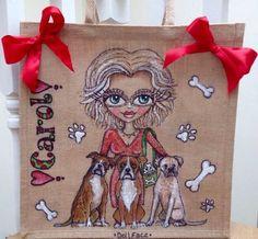 'Animal Design'- handpainted jute shopper bag, £29.99