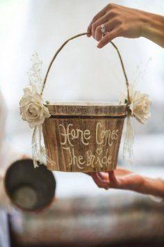 Rustic Vintage Wedding Flower Girl Basket $45