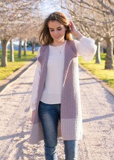 Pattern is not free, but this is good inspiration. Baby's Breath Sleeveless Cardigan - Crochet Pattern