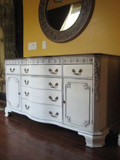 2-TONED LOVE: Large antique sideboard in an antiqued white finish with pretty carved detailing. Original brass hardware. Bowed front drawers.   ~European Paint Finishes Portfolio~