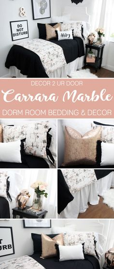 Bold, black and shimmery. Our Black & Rose Gold Bedding Collection features our signature Carrara marble fabric (black, blush, white, and grey) combined with bold black pops and hints of metallic rose Dorm Room Headboards, Dorm Bedding Sets, Gold Bedding, Bedding Storage, Bedding Decor, Teen Bedding, White Bedding, Luxury Bedding, Gold Rooms