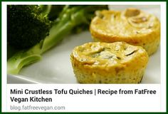 Mini Crustless Tofu Quiches, tahini is a very common Israeli ingredient.  http://blog.fatfreevegan.com/2006/12/mini-crustless-tofu-quiches.html #fatfreevegan #vegan #glutenfree #plantbased #israelifood #plantstronghealthandfitnesswithmelanie