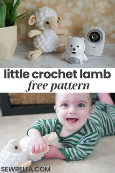 This adorable little lamb amigurumi toy is perfect for babies and toddlers during snuggling and play time! It makes a great handmade gift for baby showers and birthdays. My free crochet pattern is also a quick and easy fun challenge for beginners. Crochet Bebe, Easter Crochet, Cute Crochet, Crochet Sheep Free Pattern, Crochet Patterns Amigurumi, Cat Amigurumi, Baby Hat Patterns, Stuffed Toys Patterns, Bobble Stitch Crochet