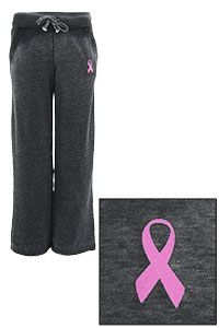 Pink Ribbon Burnout Athletic Pants - Missy at The Breast Cancer Site