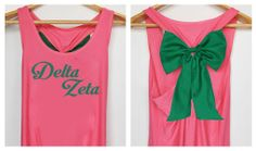 Delta Zeta Tank Premium with Bow  Dolly Bow Handmade by DollysBow, $22.00