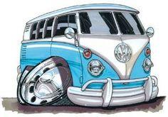 Volkswagen Vw Camper Printed Koolart Cartoon T Shirt 1526 Bus Cartoon, Cartoon T Shirts, Cartoon Art, Vw Bus, Vw Camper, Cool Car Drawings, Cartoon Drawings, Weird Cars, Cool Cars