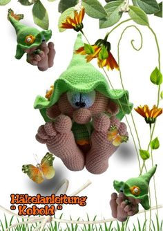 Hello, Here is a PDF crochet guide for a cute little leprechaun with big feet. The guide has 19 pages and is exactly described and with many photos. This offer is a crochet instruction and not the finis Crochet Amigurumi, Amigurumi Patterns, Amigurumi Doll, Crochet Dolls, Knitting Patterns, Crochet Patterns, Crochet Fairy, Cute Crochet, Kobold