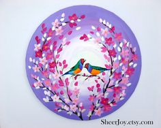 This is a stunning ORIGINAL painting on a canvas.  It features a delightful pair of finches.  It is an original work of art on a round canvas. (It is NOT just a print!)  ++++++++++++++++++  SIZE: The canvas is a circle shape. It is otherwise the same as a conventional canvas!  The diameter is is 29.7 inches (50cm ) .   It is 0.6 inches thick (1.5 cm thick)  It is made to hang on your wall. +++++++++++++++++++   The canvas arrives ready to hang .  As with all of my paintings, it is varnished…