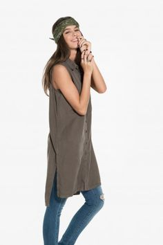 5111b10ee5063 Button-down tunic - Fashion Tops - Tops - Clothing