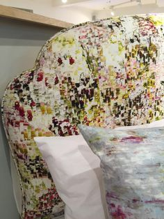 Another beautiful headboard in @Harrods, covered in a @JessicaZoobArt fabric for @Romo_Fabrics #design