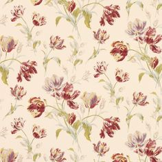 Gosford Meadow Cranberry Wallpaper from Laura Ashley. Wallpaper for kitchen dining kitchen