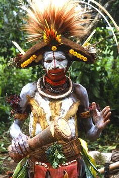 Chimbu warrior from guinea with war paint.