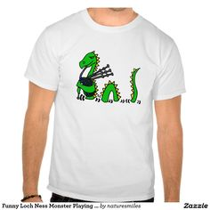 Funny Loch Ness Monster Playing Blue Bagpipes Shirts