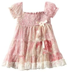 Rare Editions Girls 2-6X Lace Smocked Tiered Dress