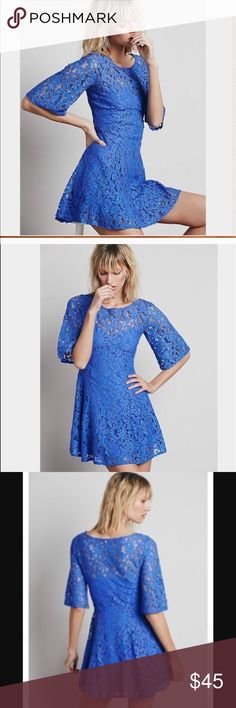 Free People Gypsy Mountain Dress Perfect condition, no flaws. Periwinkle color. All over Lace Dress. Hits above the knee. Free People Dresses