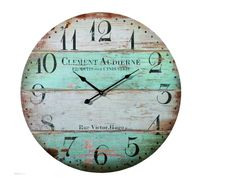 Grazing Vintage Green and Brown Colorful Stripes Design Rustic Country Tuscan Style ,Arabic Numerals ,Home Decorative Wooden Round Wall Clock (Victor) Rustic Kitchen Design, Rustic Design, Kitchen Designs, Rustic Shabby Chic, Shabby Chic Style, How To Make Wall Clock, Diy Clock, Clock Craft, Tuscan Decorating