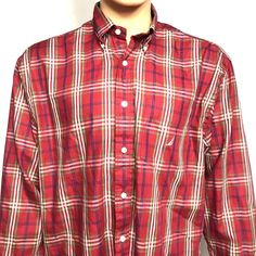 50b61fb7a522 NAUTICA Shirt Size Large Men s Red Plaid Checked Button Down Collard Casual
