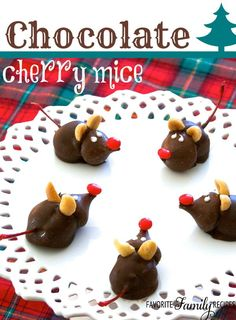I can't get enough of these cute cherry chocolate mice that my Mom made this year! They are so cute for Christmas gifts for neighbors.