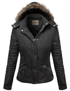 Awesome21 Women's Fine Quality Padded Detachable Hood Jacket Fur lining Jacket at Amazon Women's Clothing store: