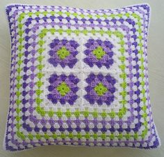 granny squares and stripes cushion cover | by riavandermeulen