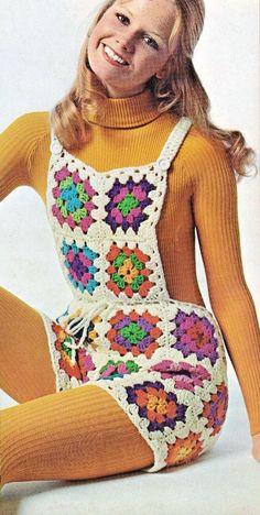 Crochet Granny Square Overalls Pattern Boho Hip Hugger Hot Pants Dungarees Pattern Bib Shorts - PDF Download