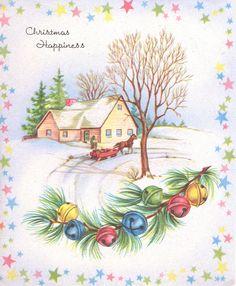 Sweetly hued Christmas happiness. #vintage #Christmas #cards