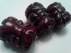 Trio of Carved Agate Buddha Face Beads by SpiralHawkStudio on Etsy, $7.00