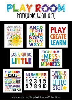 Playroom Printables Set Of 8 Nursery Wall Art Boys Room Playroom Wall Decor, Playroom Rules, Toddler Playroom, Playroom Furniture, Playroom Organization, Playroom Design, Nursery Wall Art, Playroom Ideas, Playroom Table