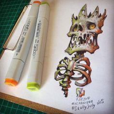 skull illustration by andrey pridybaylo (7)