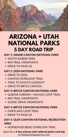 Grand Canyon to Zion to Bryce Canyon in 5 days: Arizona Utah national parks winter road trip from Ph