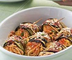 Involtini di melanzane con spaghetti al pomodoro