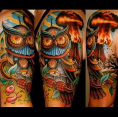 Colorful owl tattoo on arm