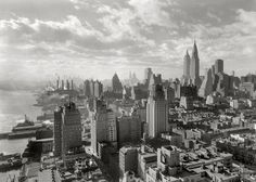 "Gotham: New York. December 15, 1931. ""River House, 52nd Street and East River. Cloud study, noon, looking south from 27th floor."" 5x7 safety negative by the prolific architectural photographer Samuel H. Gottscho."