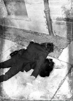 The lifeless body of John Lennon after being shot by Mark David Chapman.
