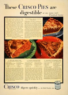 1933 ad for Crisco shortening for pie crusts with three pie recipes