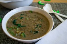 Vegan Mung Bean Soup with Bitter Melon Recipe - Thick, hot and creamy soup. Malabar spinach and Bitter melon will add amazing flavor to the Mung Beans.