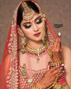 Photography Poses Women, Makeup Photography, Girl Photography, Bridal Makup, Beautiful Indian Brides, Bridal Gallery, Bridal Poses, Bride Portrait, Cotton Suit