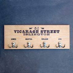 The ultimate family Christmas gift. Have the names of everyone in the family and their address printed onto one of these wooden coat hooks. Wooden Coat Hooks, Peg Hooks, Family Christmas Gifts, Mothers Day Presents, Wooden Gifts, Holiday Crafts, Names, Printed, Gifts For Mothers Day