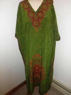 Silk Caftan made in India one size green with red, dark red, gold print design  #Unbranded #MaxiCaftan #Casual