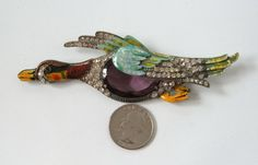 Vintage STARET Enamel Rhinestone Brooch Pin Duck by MagpieAntiques