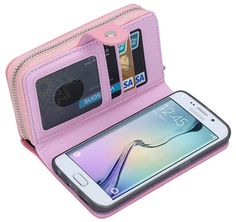 Litchi Pattern Samsung Galaxy S6 Edge Plus Multi-functional 2 in 1 Zipper Wallet Leather Detachable Magnetic Case Cover