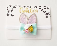 Easter Bunny Ears Headband/Hair Clip-Handmade gray and pink glitter bunny ears feature a felt bow with floral embellishment. Can be ordered as a