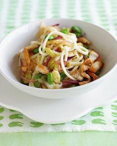 Chicken, Edamame, and Noodle Stir-Fry | A one-bowl dinner,Japanese style.If you can't find udon noodles,use linguine just break the noodles in half before boiling them.Edamame are green soybeans.