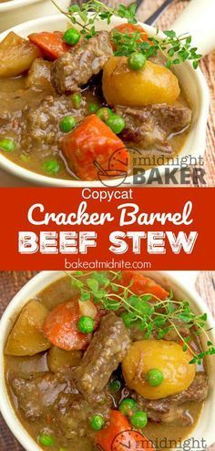beef stew is a big dish of comfort. A copycat recipe from the famous Cracker Barrel restaurant. beef stew is a big dish of comfort. A copycat recipe from the famous Cracker Barrel restaurant. Healthy Recipes, Crockpot Recipes, Soup Recipes, Dinner Recipes, Cooking Recipes, Fastfood Recipes, Cooking Beets, Cooking Bacon, Gourmet